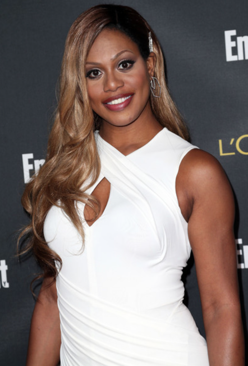 Laverne Cox at the Entertainment Weekly 2014 Pre-Emmys Party. Wearing a Donna Karan dress, Stuart Weitzman shoes, J. Mendel clutch, Swarovski bracelet, Neil Lane hairpiece and Mason Stanley earrings.