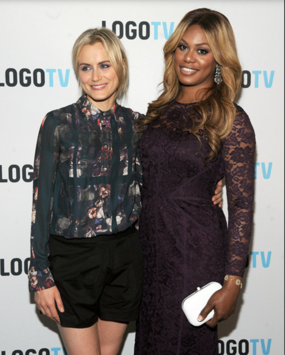 """Laverne Cox at the Red Carpet Premiere of the MTV and Logo documentary """"Laverne Cox Presents: The T Word."""" Wearing Monique Lhuillier, Rue Gembon jewelry and a Judith Leiber clutch"""