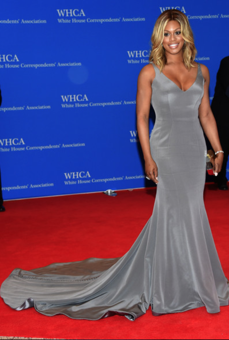 Laverne Cox at White House Correspondents Dinner 2015 wearing Ines Di Santo
