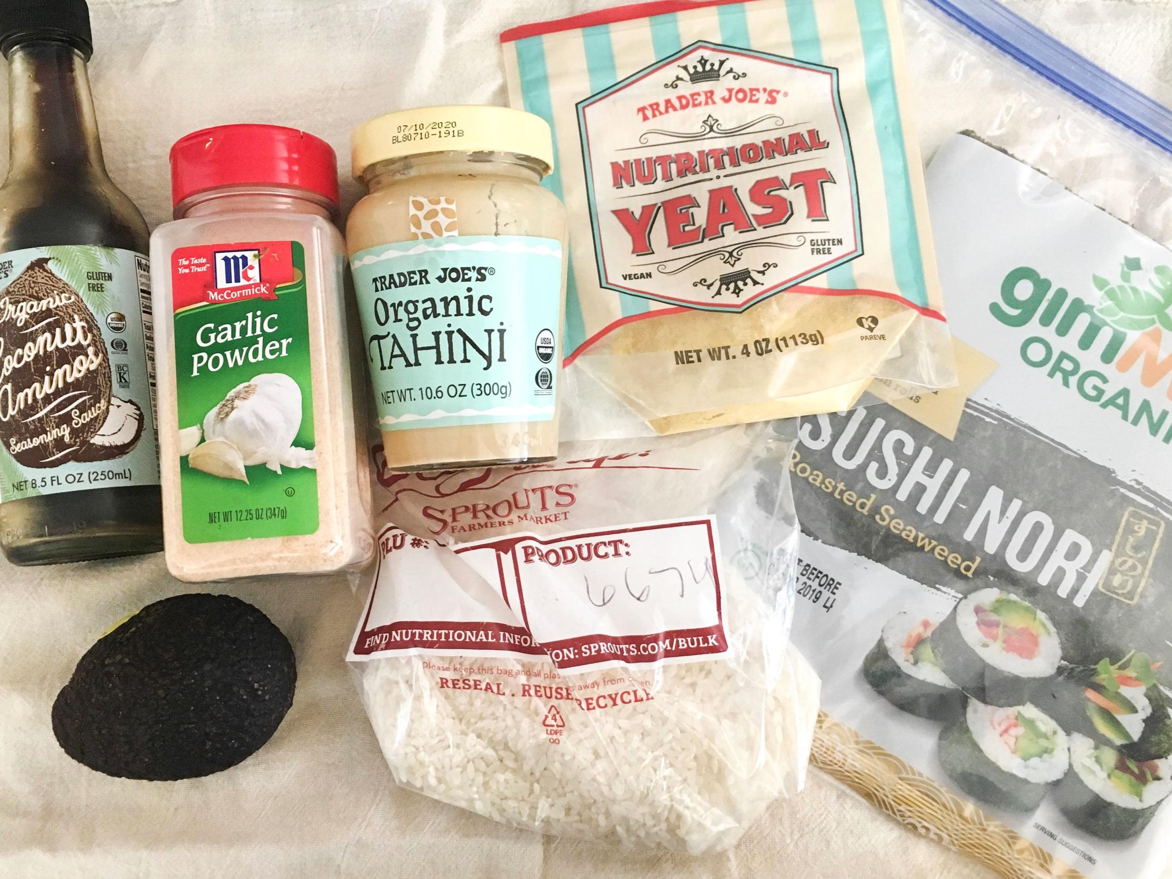 I love Trader Joe's Organic Coconut Aminos, Organic Tahini, and Nutritional Yeast.