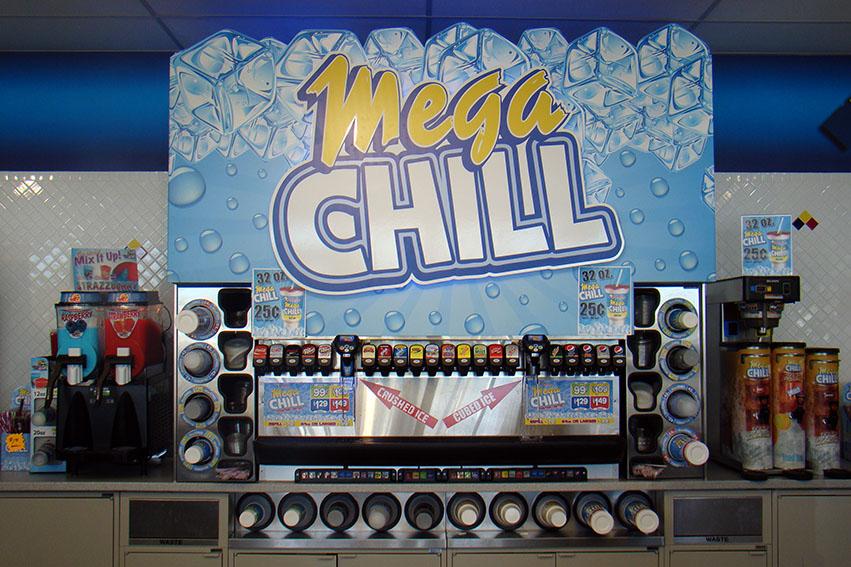 3-D Mega Chill fountain sign cutout graphic