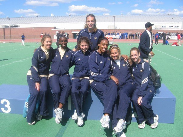 All of the seniors in 2007 after winning the first Women's Big East Outdoor Track Championship for Notre Dame. (So, clearly I couldn't let my now lucky peanut butter be confiscated by airport security.)