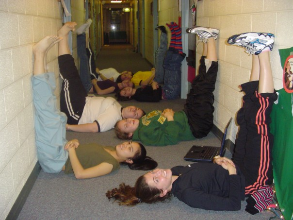 Don't ask me how I managed to track down this photo...my freshman year at Notre Dame during my first finals week. Note the infamous black Adidas fleece! (I also totally still have these Adidas pants, which I must say are quite awesome as well as quite warm.) At least my section of Pasquerilla West 2A is doing some restorative yoga! I had just gone for a very very snowy run around the lakes.