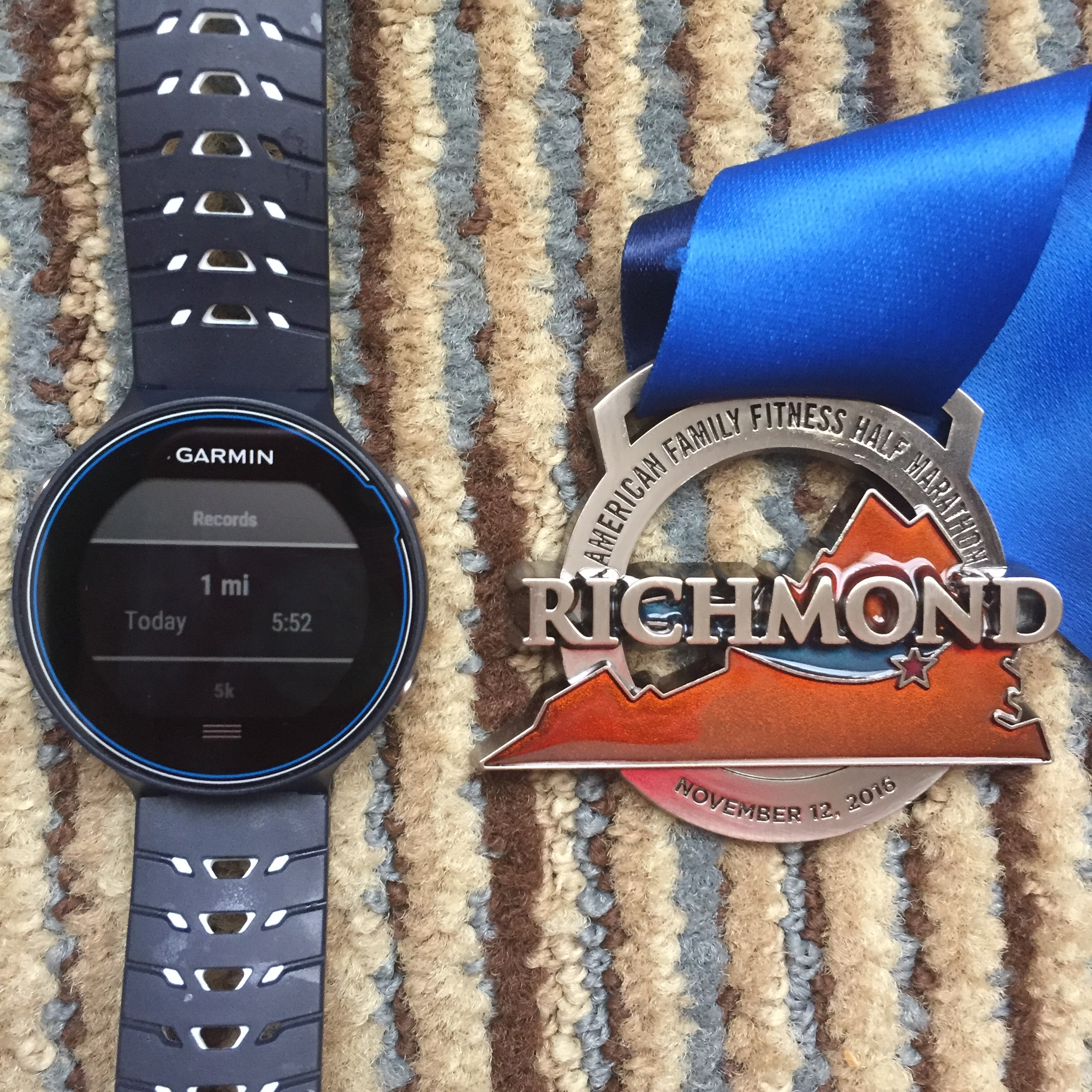 """I just got a new Garmin 630 which is amazing--so much lighter than my old touchscreen Garmin (which was so big it didn't quite fit my wrist and so heavy that I'd finish long races with a big mark on my wrist)! This was the second race I've worn this; going to get a new mile """"record"""" as soon as I race a shorter distance, but a record is satisfying nonetheless."""