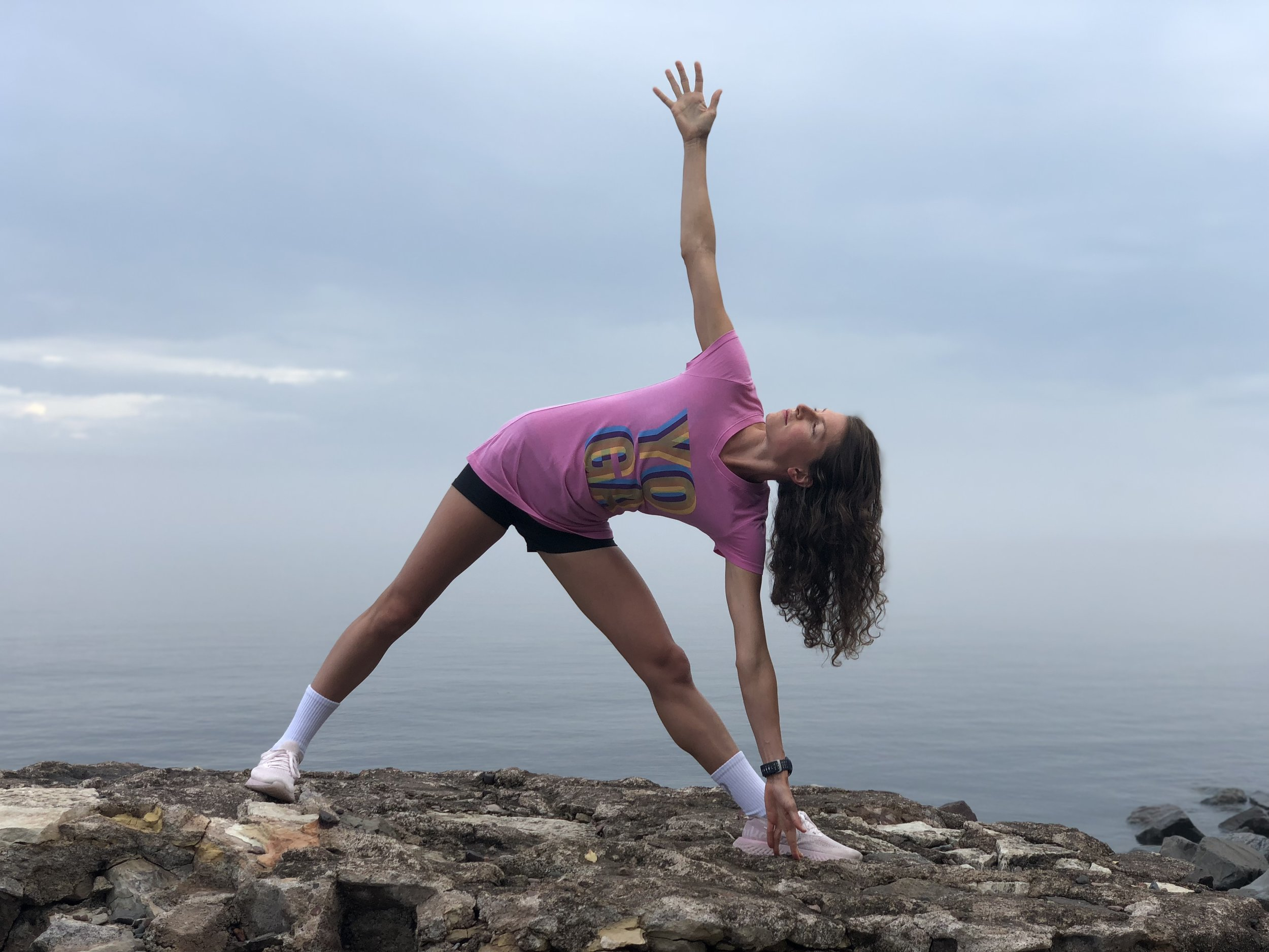 Remember EVERY little bit of yoga adds up, and even a couple poses each day count. FYI: Beach Yoga Tee shown here