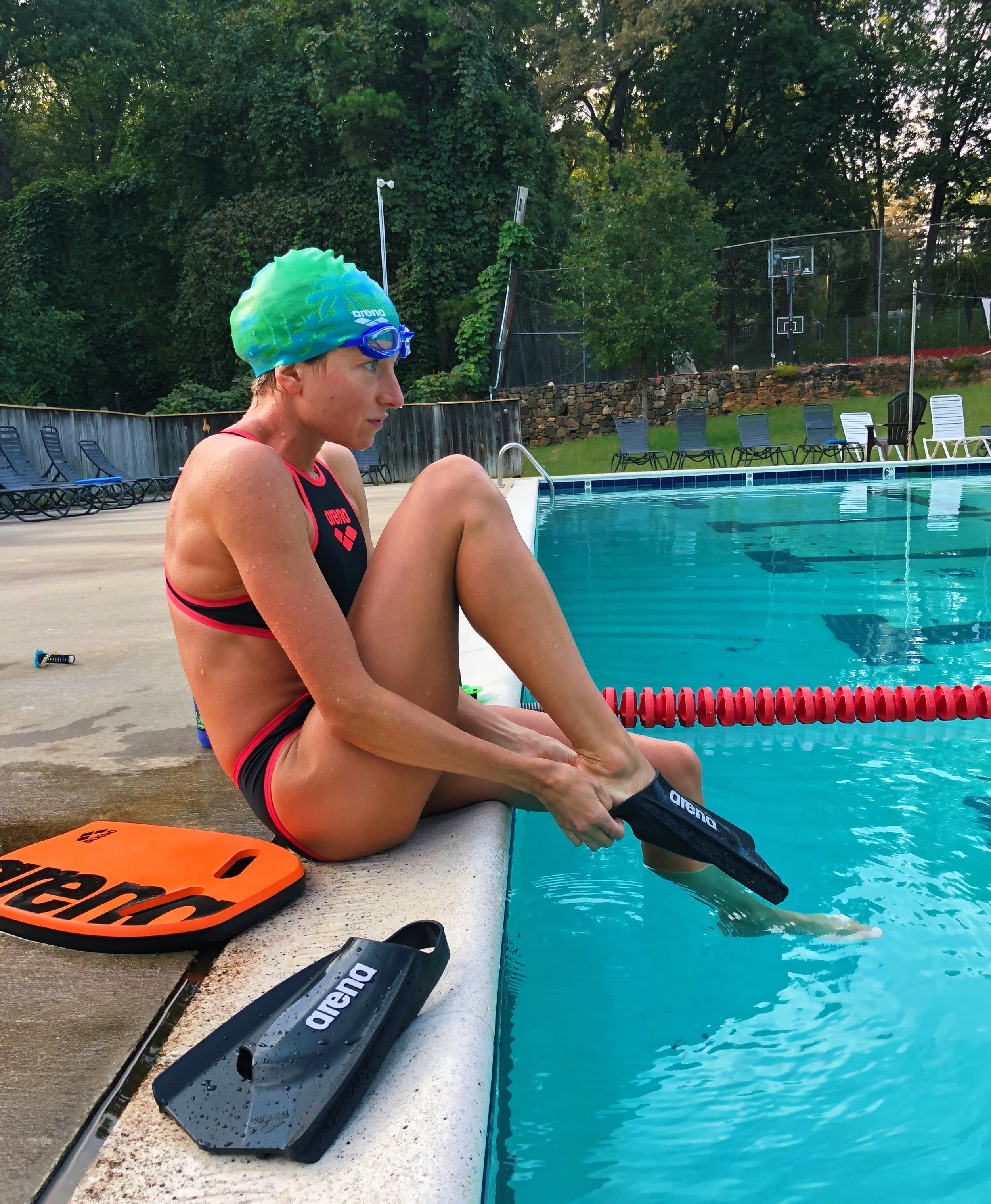 Fins are a great way to use your legs a little more in the pool or to keep going for a little longer.