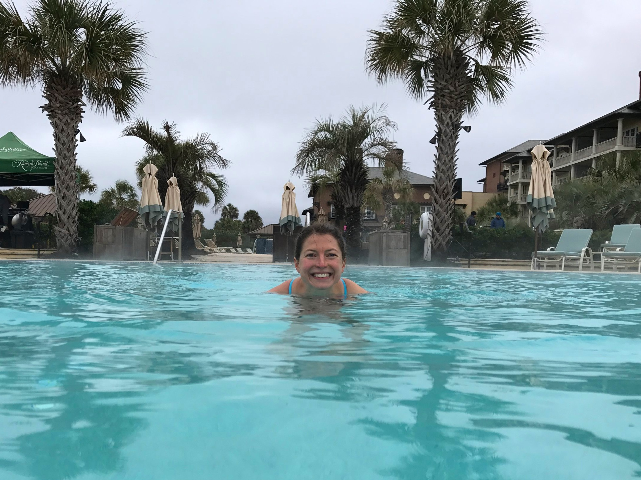 After winning the 2017 Kiawah Island Marathon in 2:52, I was THE only person brave enough to go in the very very cold unheated outdoor pool in December! It was an awesome ice bath!