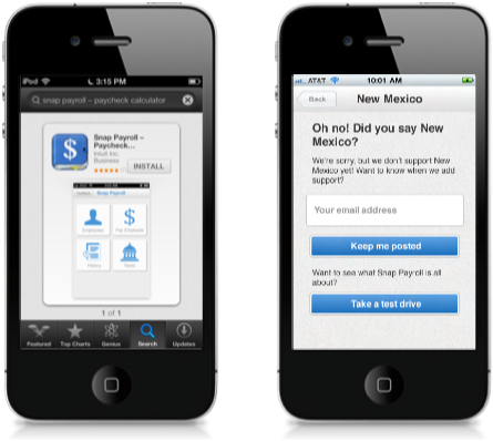 Screens from usability testing (set in iPhone context)