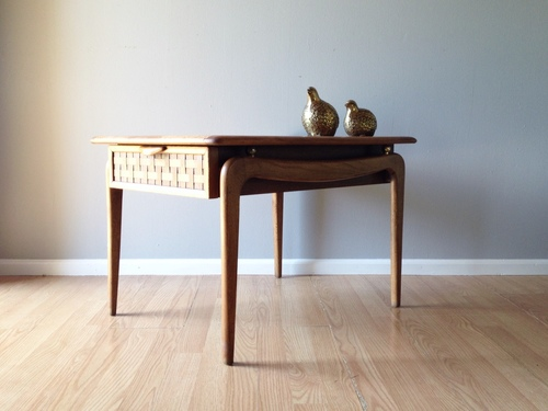 Lane Perception side table with woven drawer front