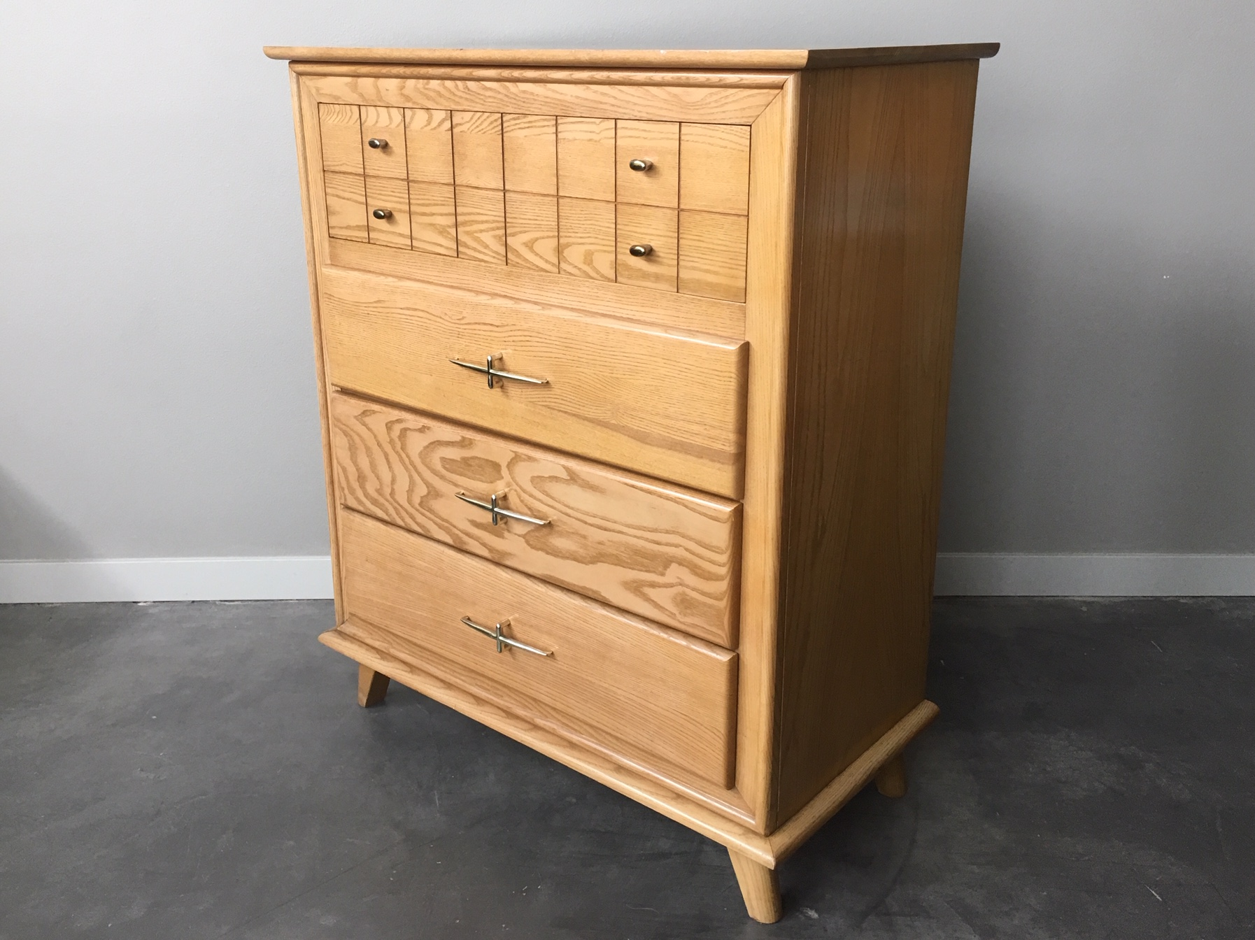 Vintage Mid Century Modern Highboy Dresser By La Period