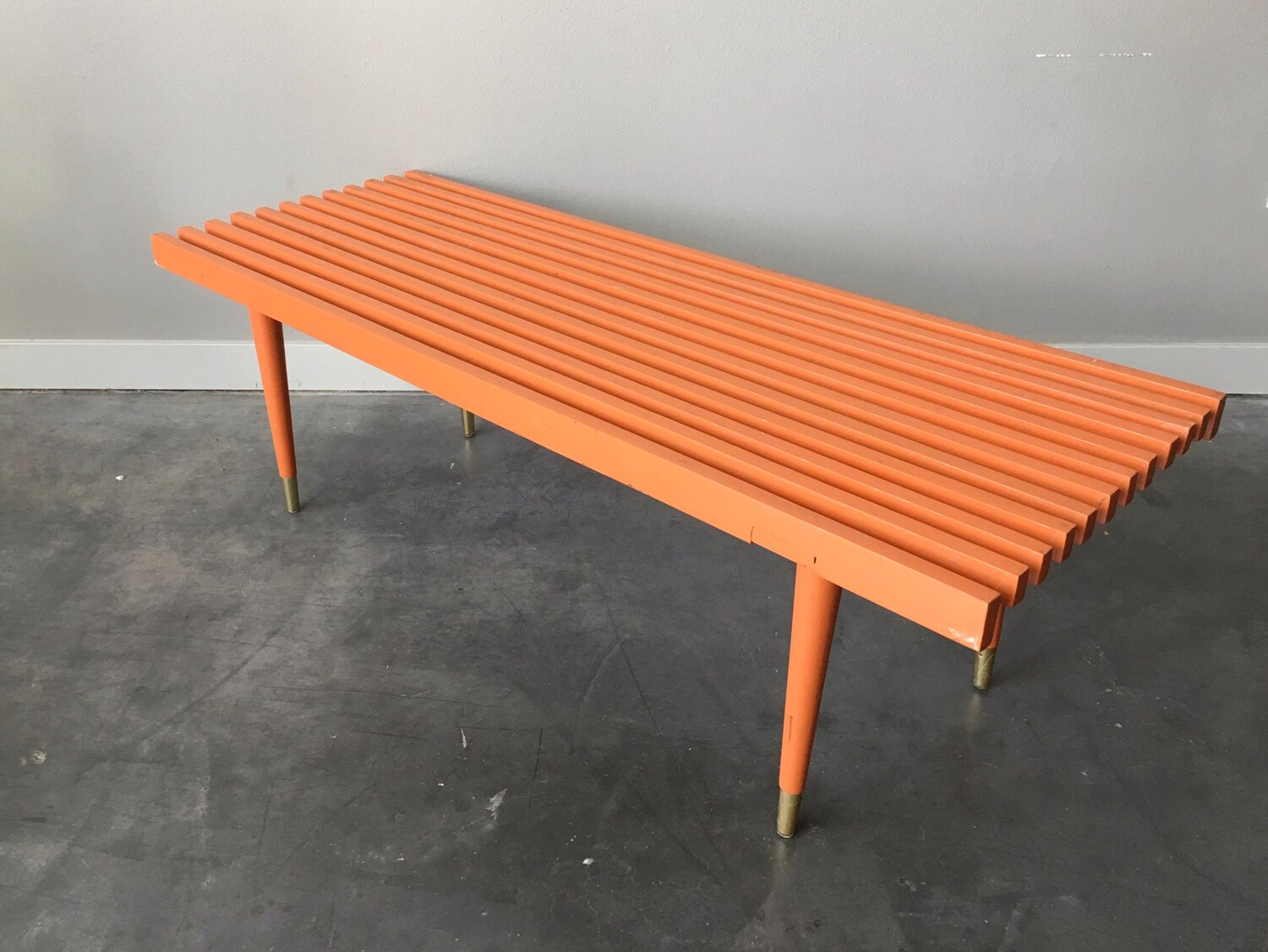 Vintage Mid Century Modern Painted Slat Bench Coffee Table