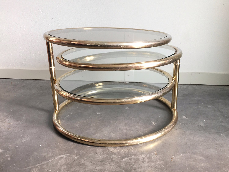 Vintage Mid Century Modern Milo Baughman Style Brass Glass
