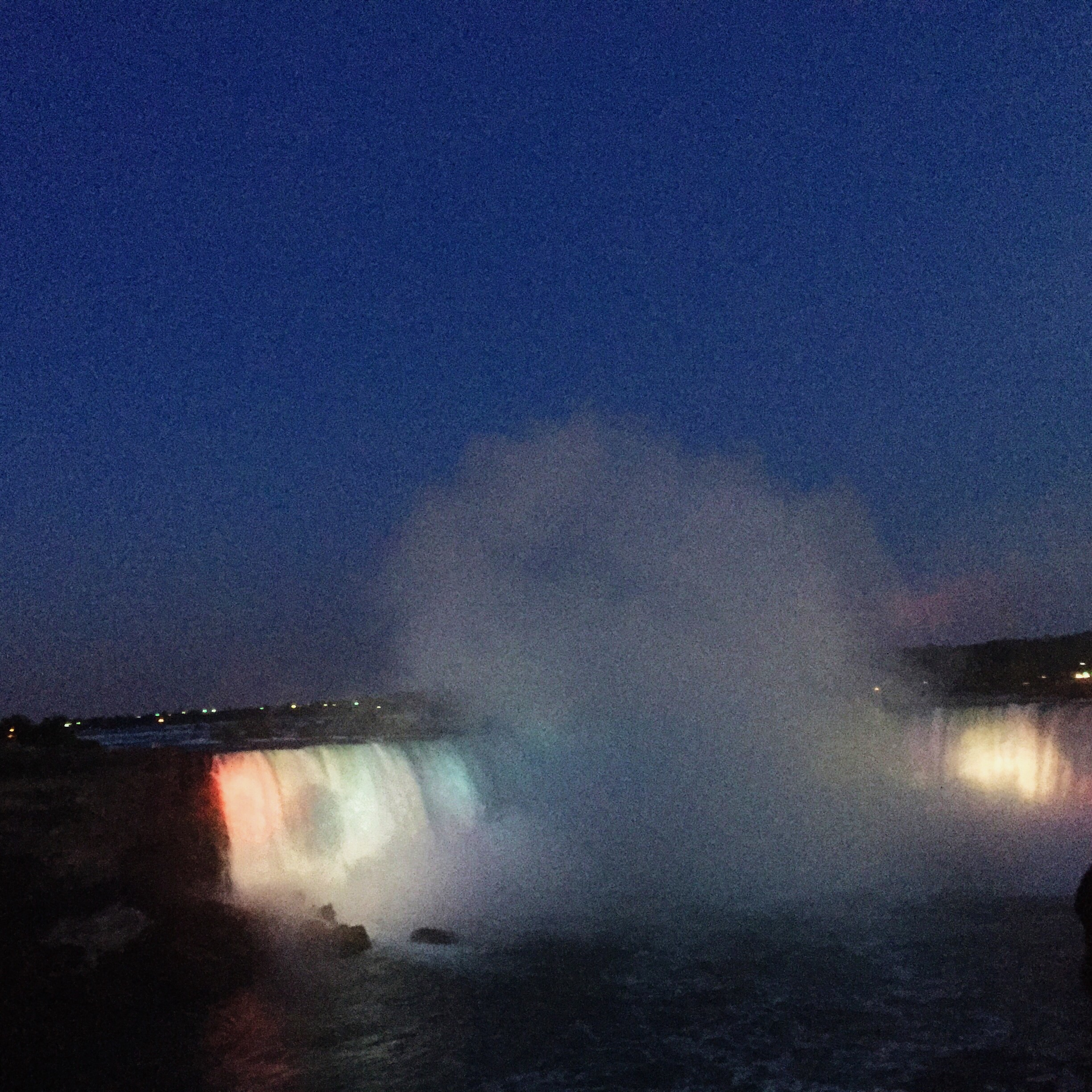 Niagara at night.. Absolutely GORGEOUS! We thought it was going to be dark, apparently they light up with falls with different colors. A must see! But bring your jackets. It's freezing there at night.