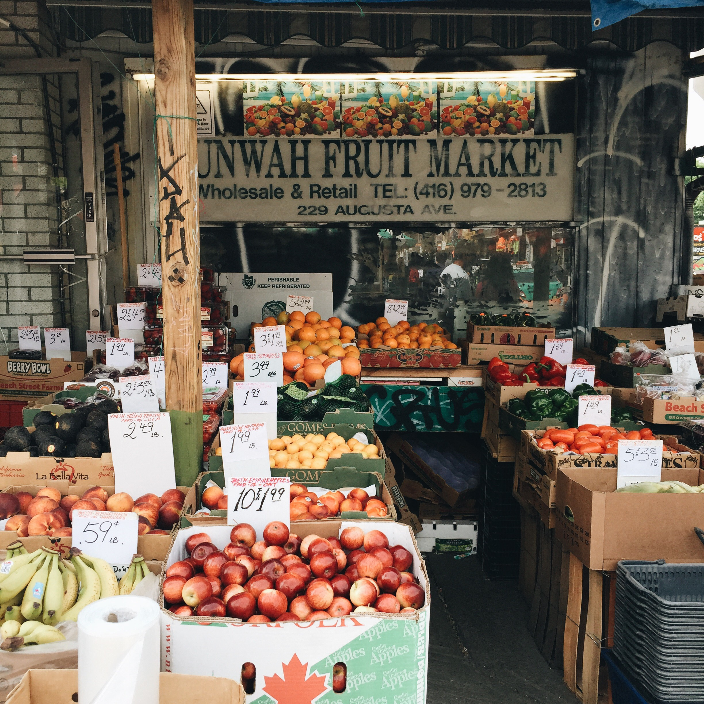 A fruit and veggie store at Kensington Market. They have a couple of similar stores in the area!