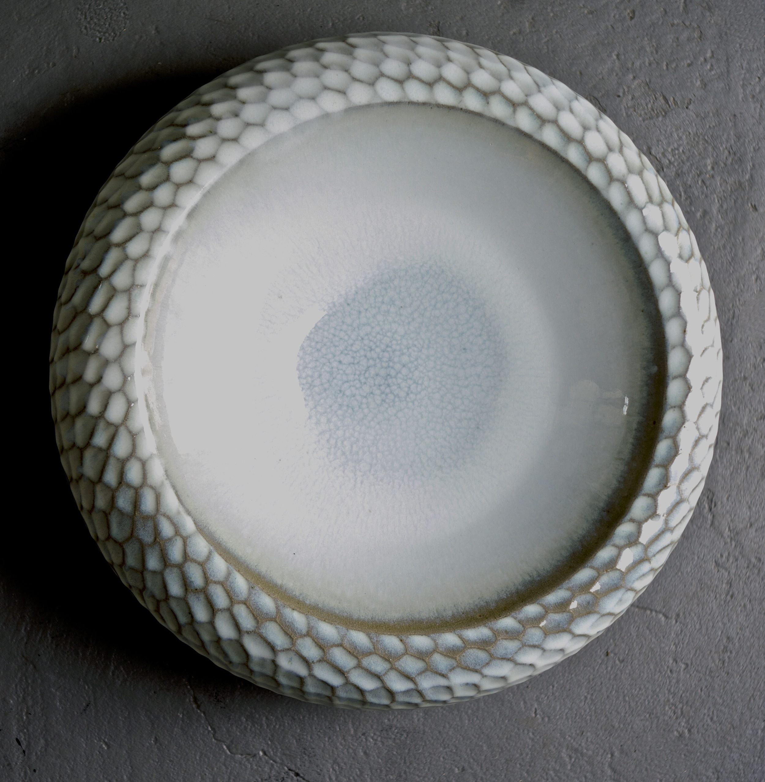 Thrown hollow form with faceted sides.  stoneware  450mm W  2011