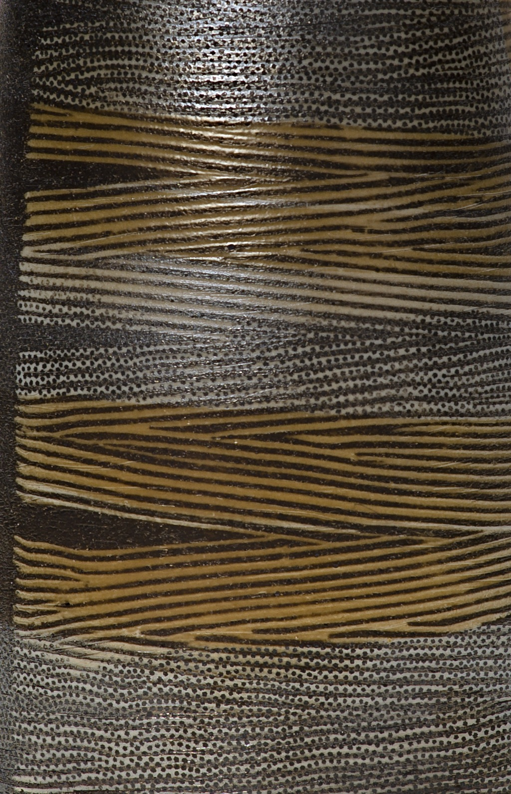 detail of inlaid slip surface with dot overlay