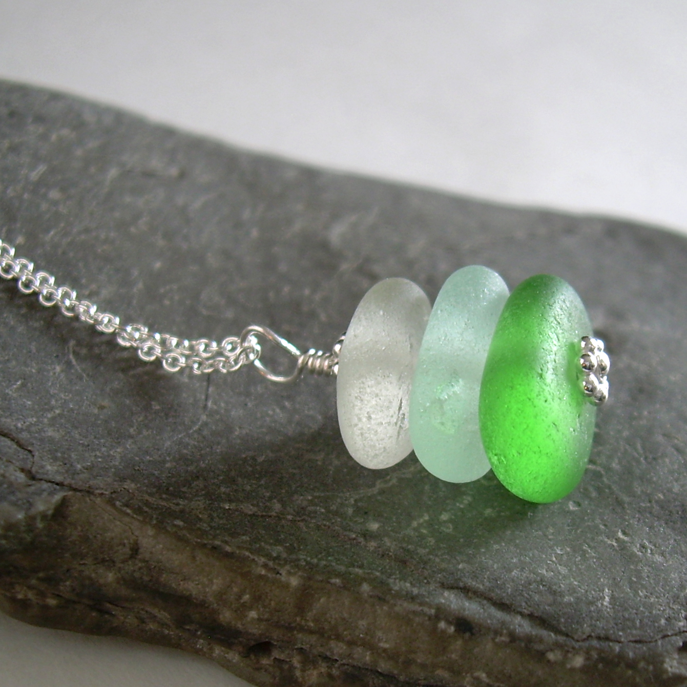 Sea Glass Stacked Necklace