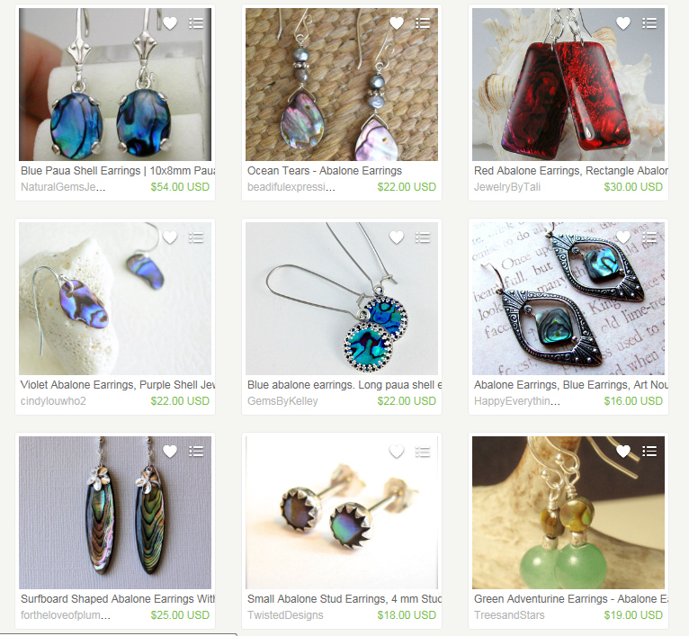 Abalone earrings search, IE, not logged in