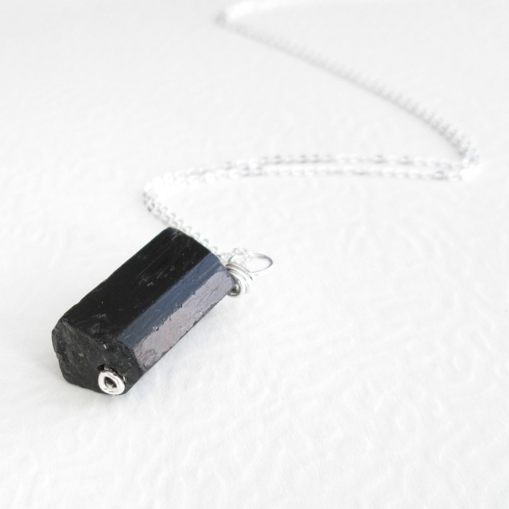 Fauceted Pink Tourmaline Raw Black Tourmaline Black Spinel and Sterling Silver set