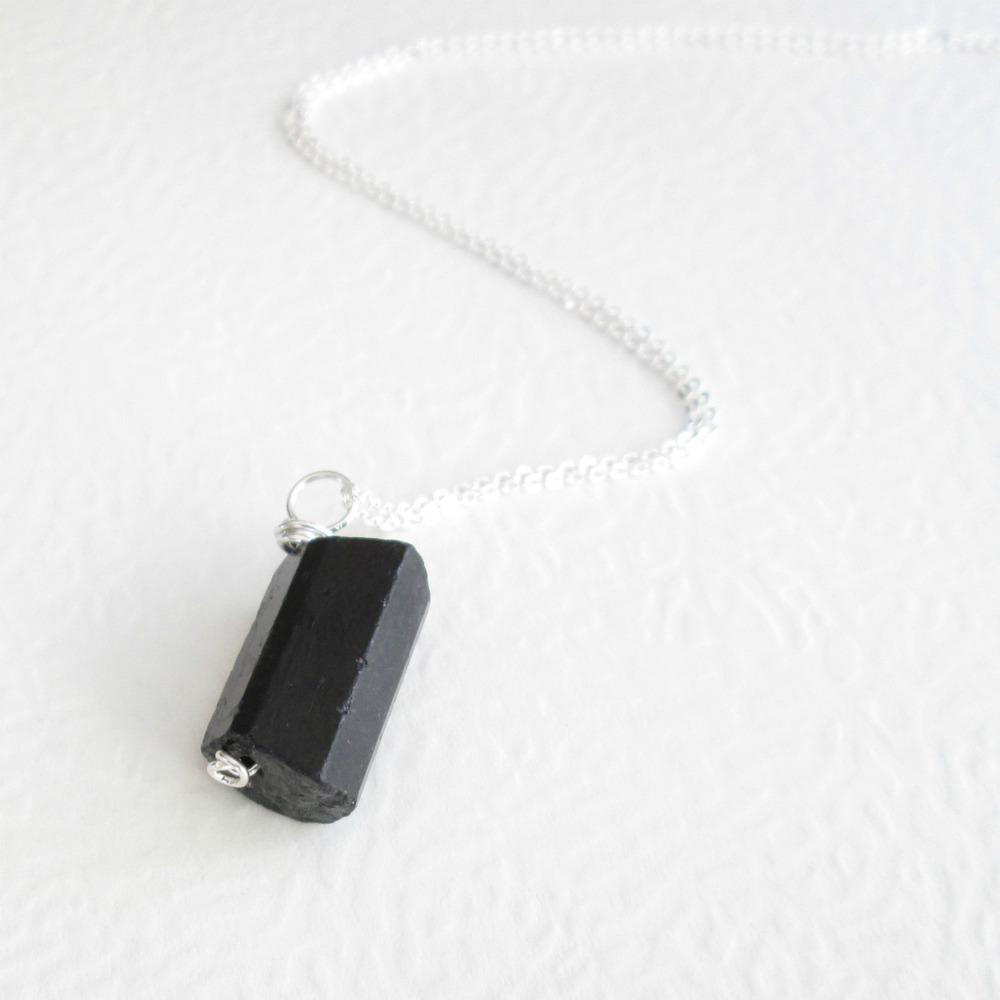Raw Black Tourmaline Necklace 16 Inch Sterling Silver Dainty