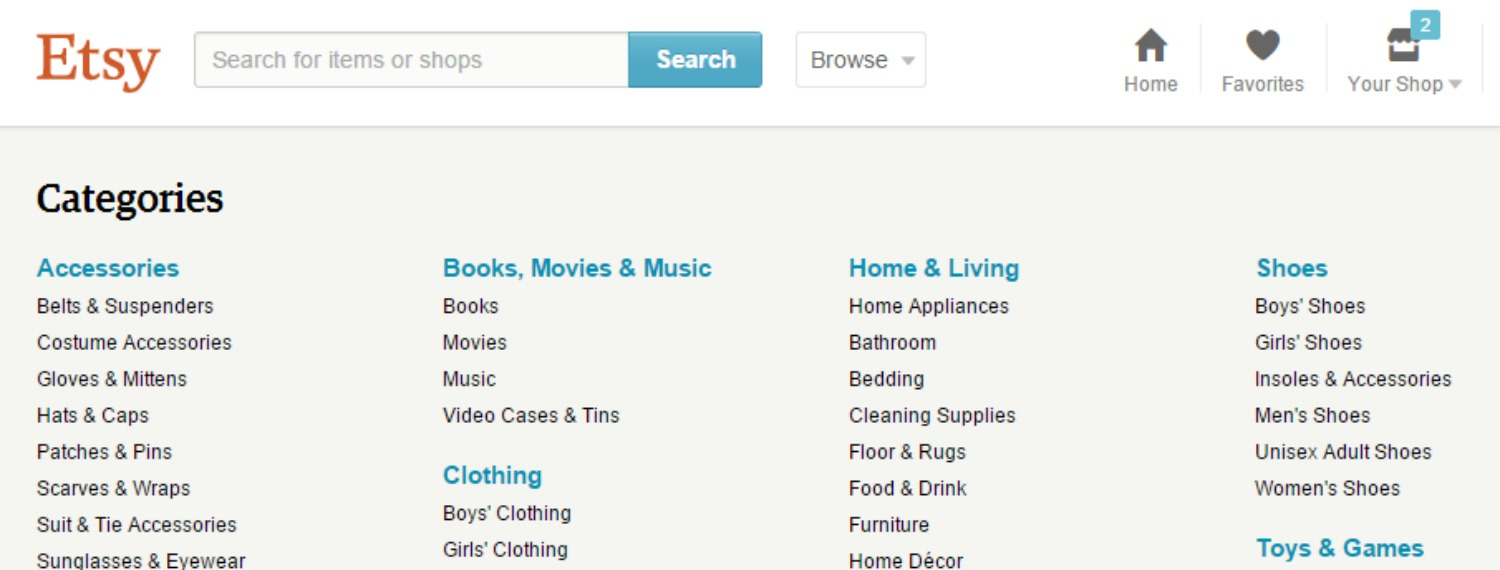 Some of the new Categories & Sub-Categories Etsy released today