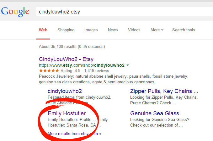 Some Etsy links on Google currently make no sense for the search