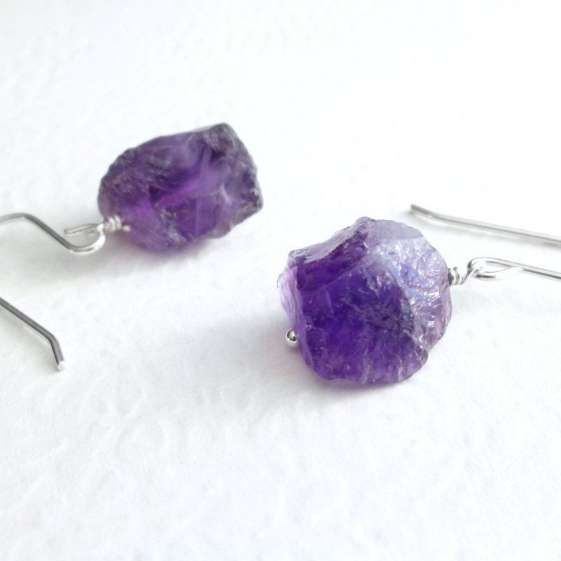Small Raw Amethyst Earrings