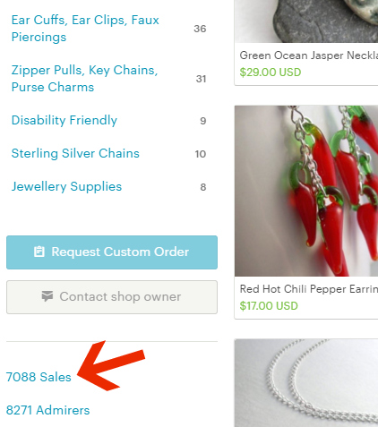 This sales total below the new shop sections no longer needs to be clickable; sellers can hide the page showing each of their sold items, if they choose to do so.