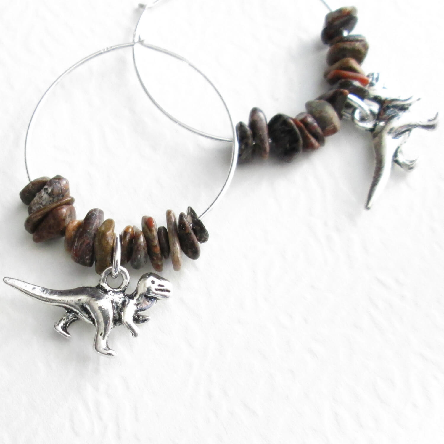 Dinosaur Hoop Earrings, T Rex & Brontosaurus