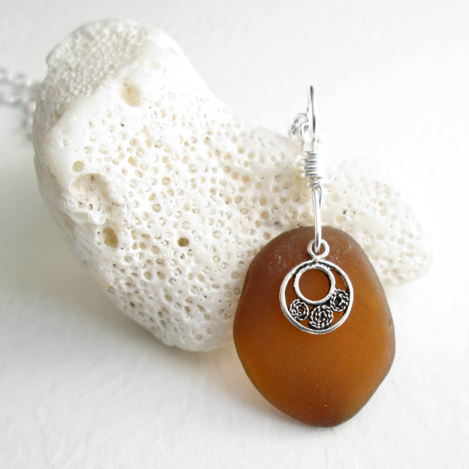 Brown Sea Glass Pendant, Genuine Hawaiian Beach Glass