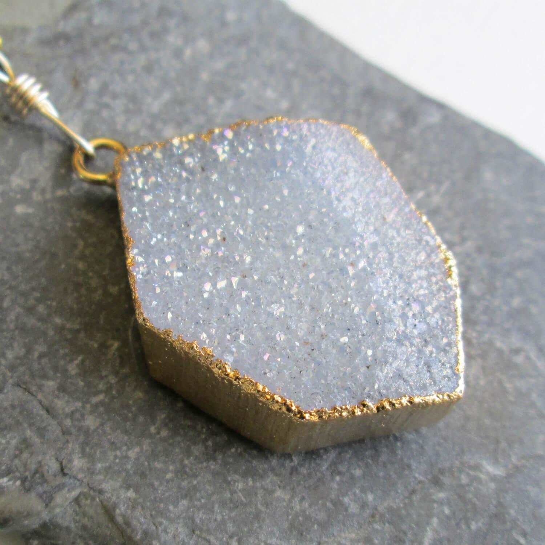 Grey Druzy Geode Pendant