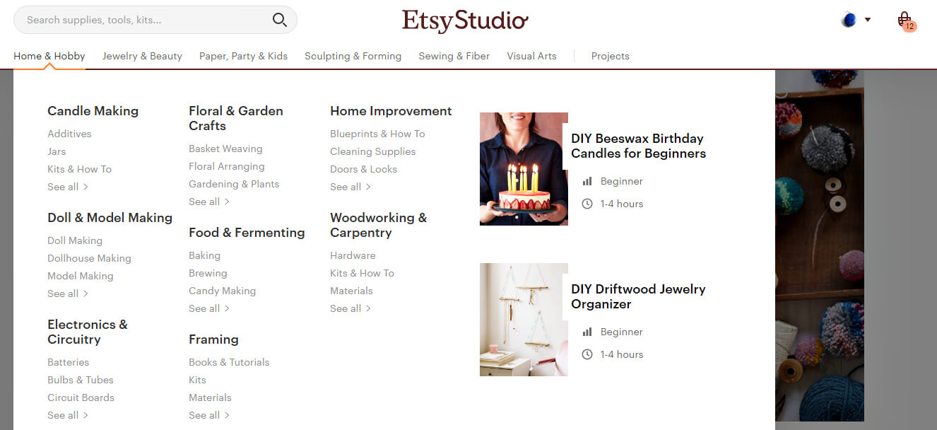 A screenshot of the drop down menu on every page; note that DIY tutorials are included on the right.
