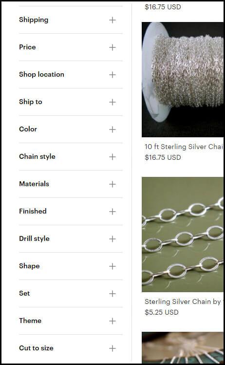 "13 different filter choices for a ""sterling silver chain"" search, including ""chain style"" and ""theme""."