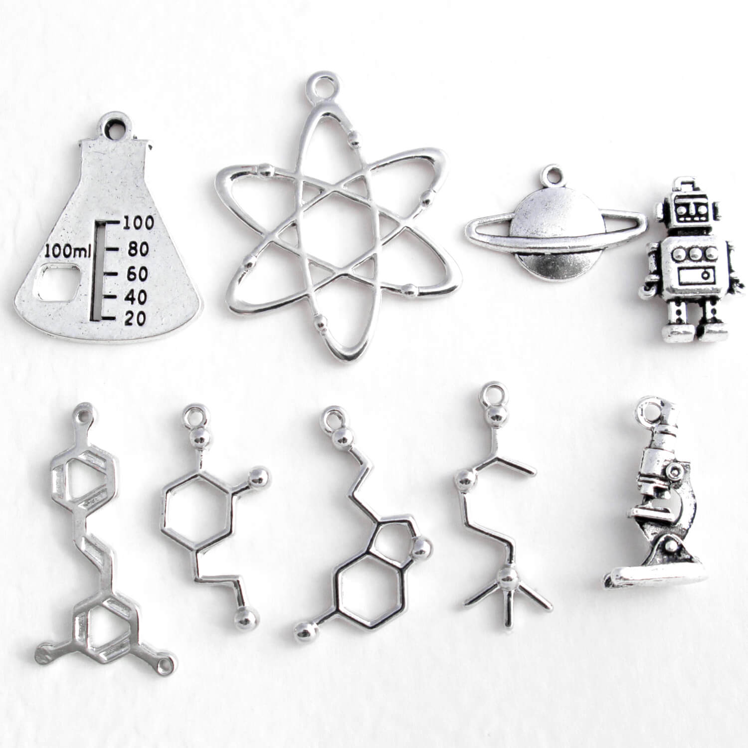 Silver Science Charms