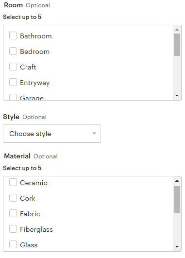 The optional attributes for lamps, in the new Home and Living Category filter test