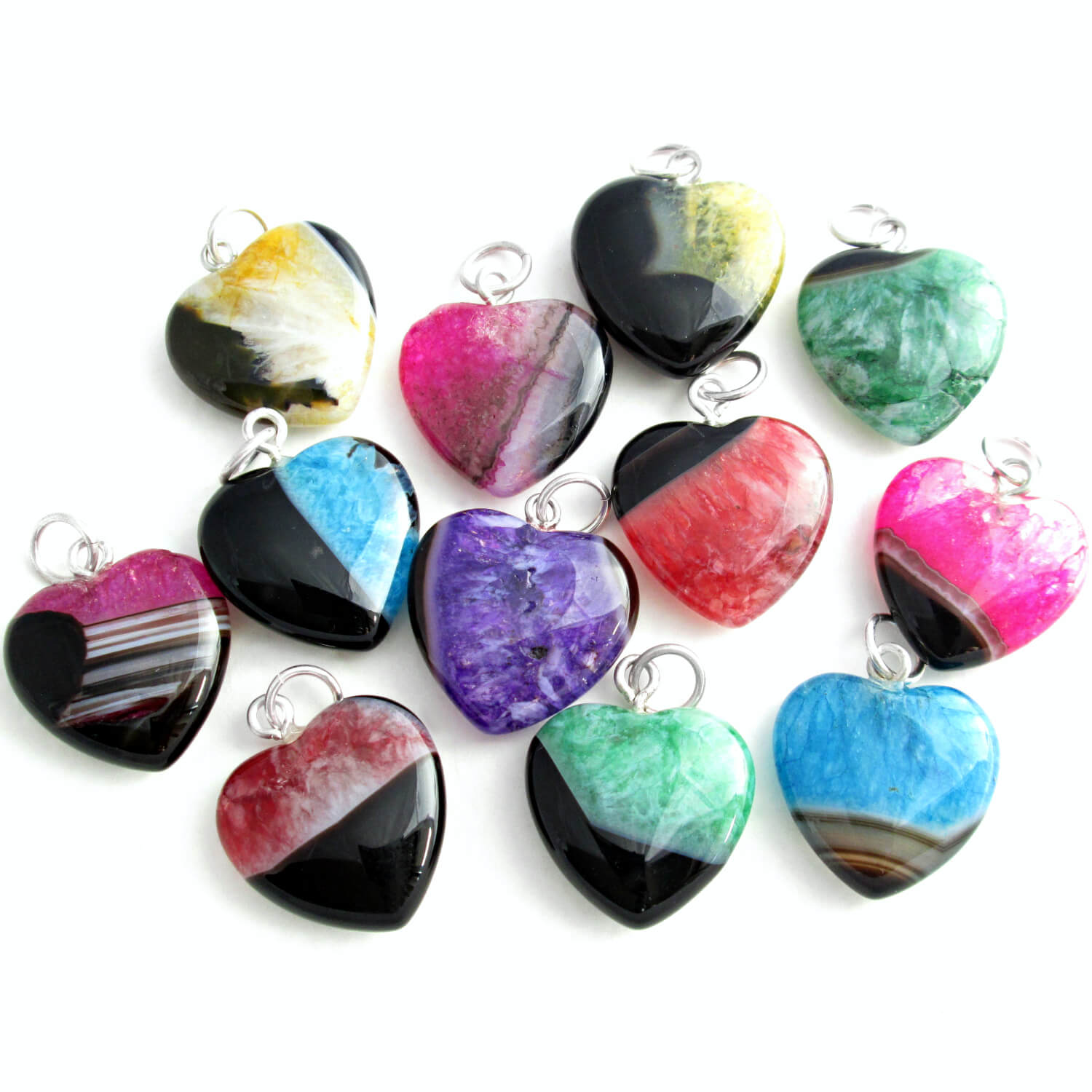 Agate & Quartz Heart Pendants