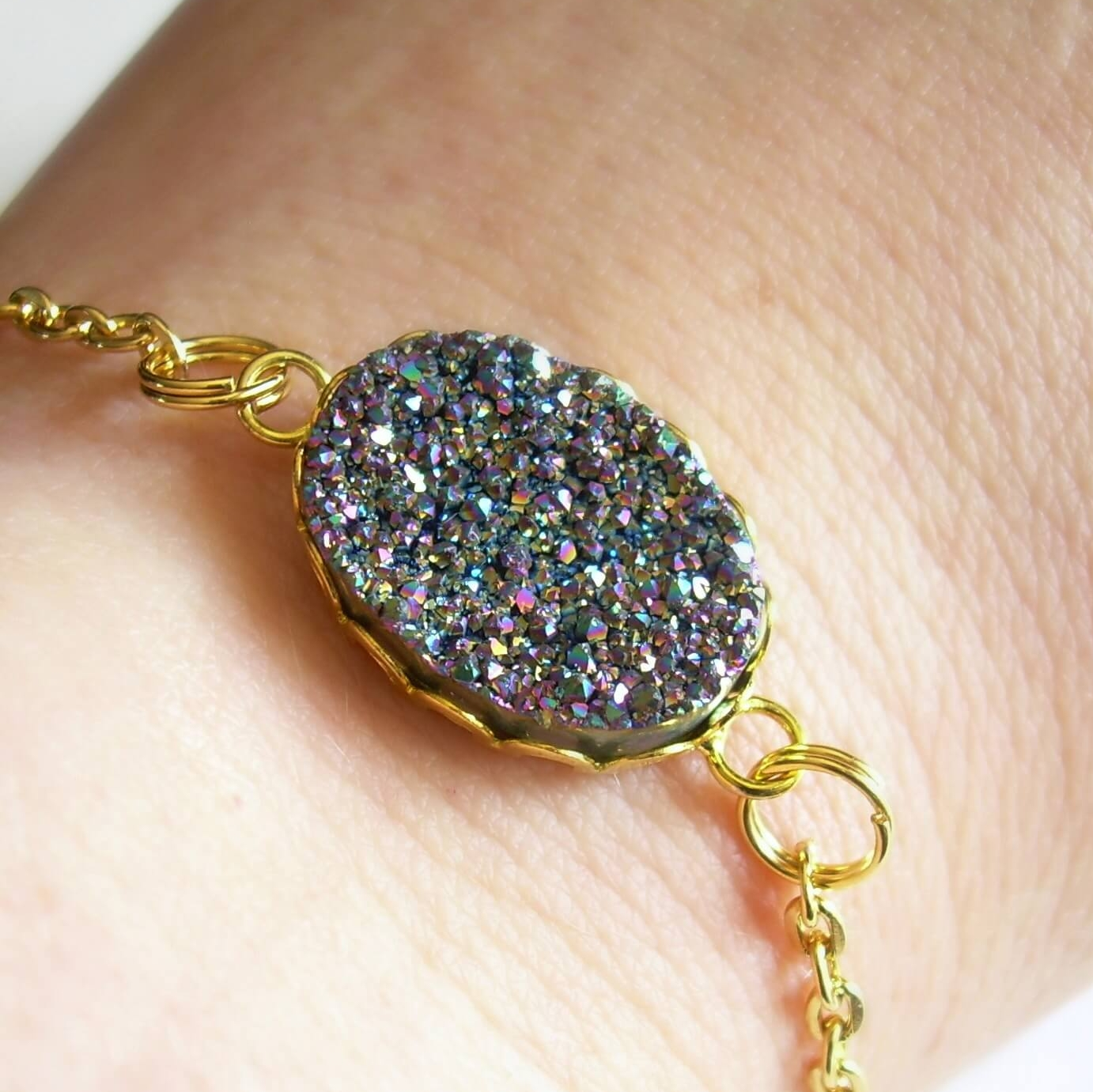 Rainbow Druzy Bracelet, Gold Chain