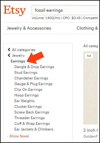 If a pair of earrings is not in the Earrings category, it can't be found in a search for 'earrings' once a customer clicks on the subcategories in the sidebar. Getting fewer clicks from search can hurt its rankings.