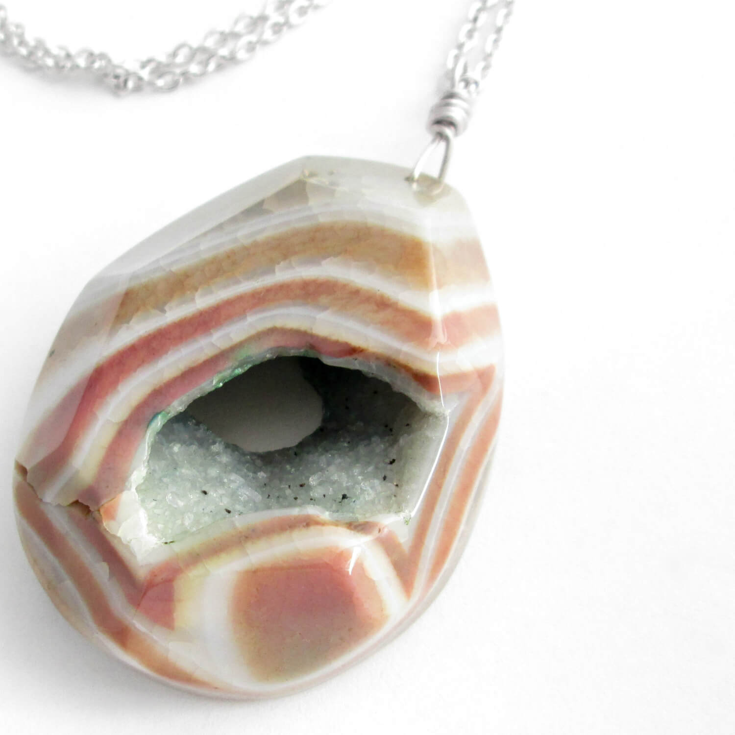 Large Druzy Geode Necklace, Orange Agate Pendant Jewelry