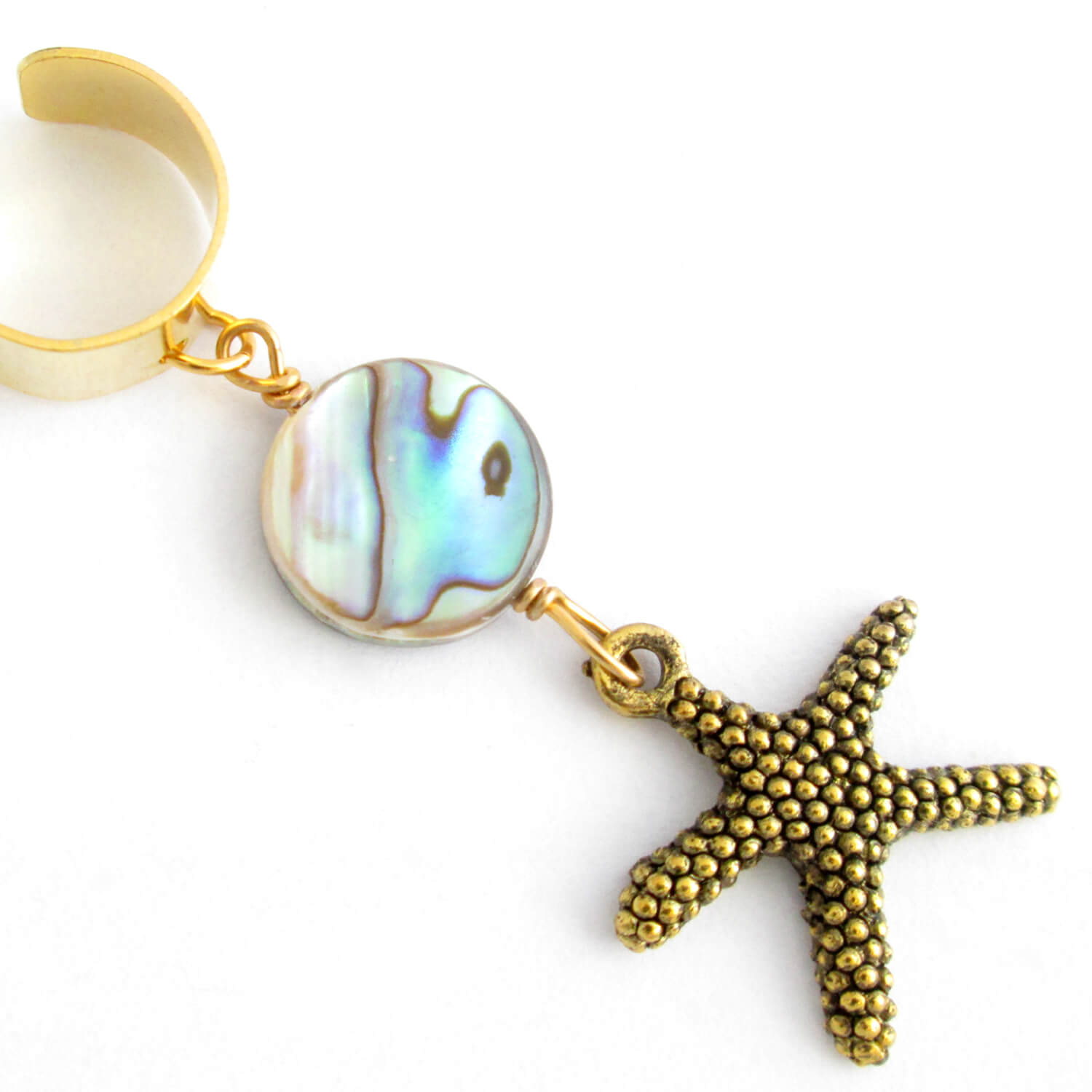 Gold Starfish Ear Cuff with Abalone Shell