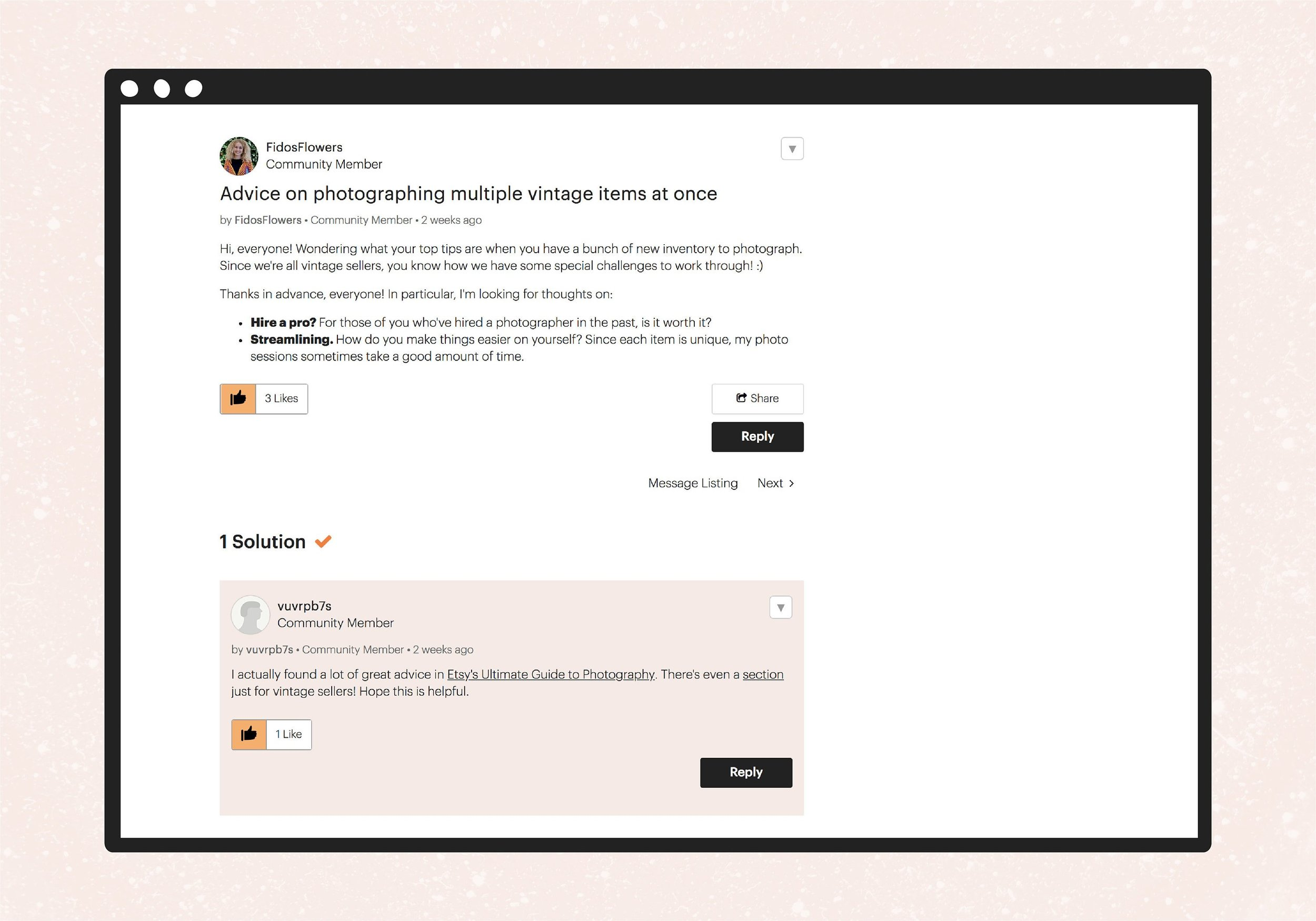 A screenshot of the new Etsy forum, as shown in an Etsy blog post.