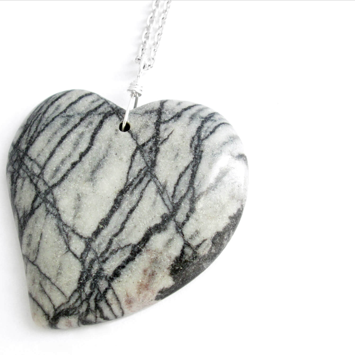 Zebra Jasper Pendant, Heart Shaped Stone