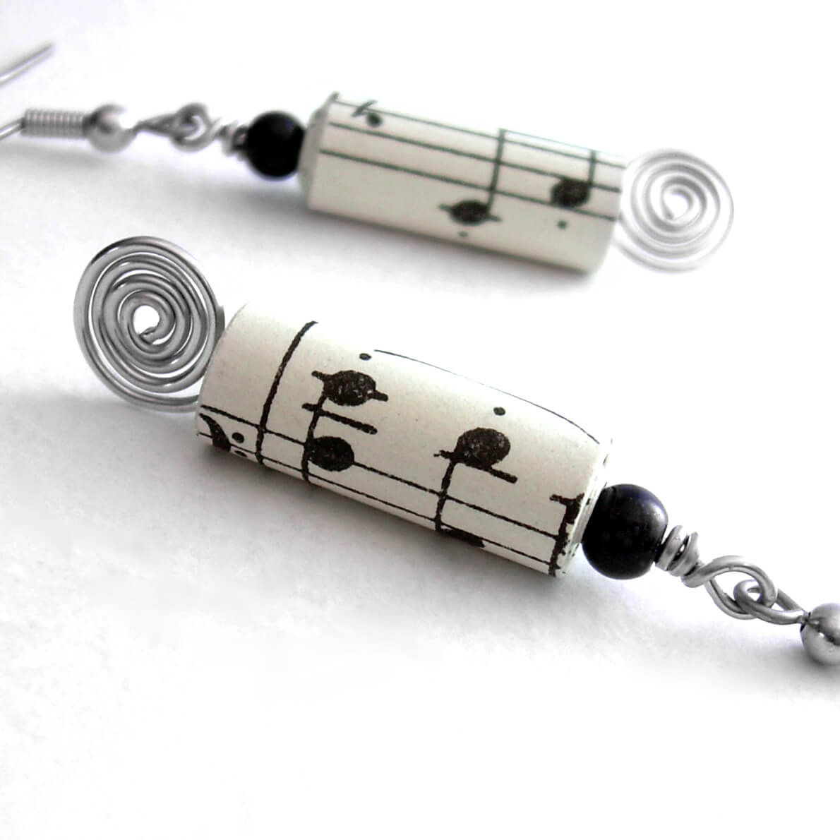 Recycled Paper Earrings with Vintage Sheet Music