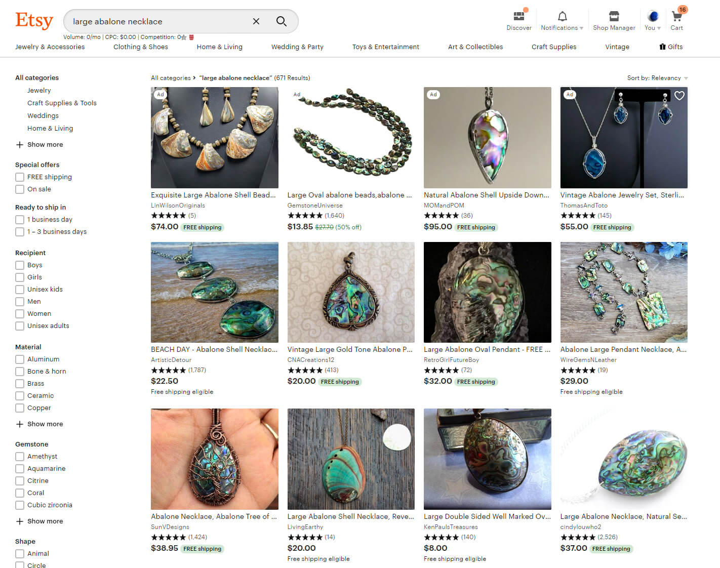 The top rows of US searches on Etsy now have items that ship free - except for the ads, of course.