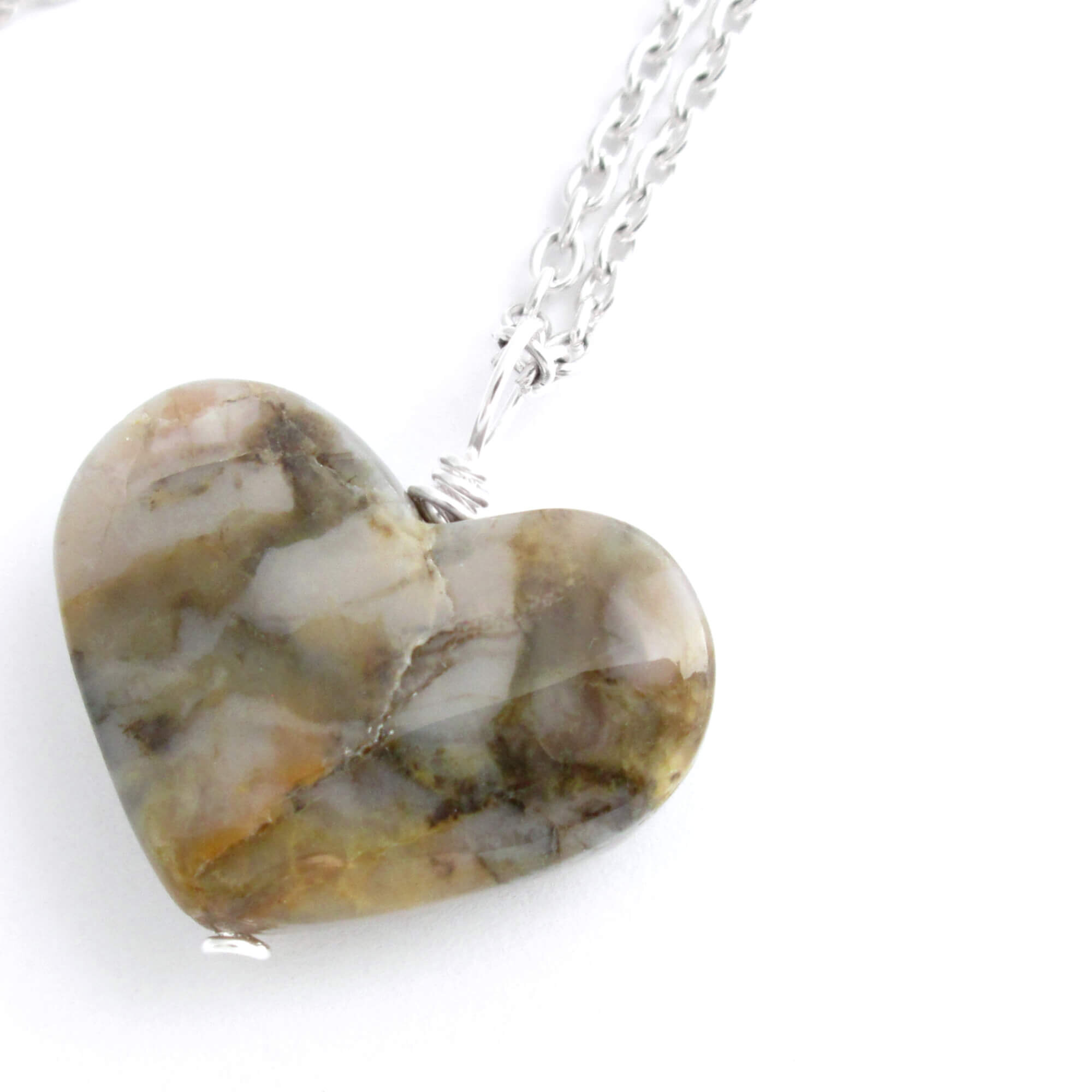 Heart Shaped Coprolite Pendant Necklace
