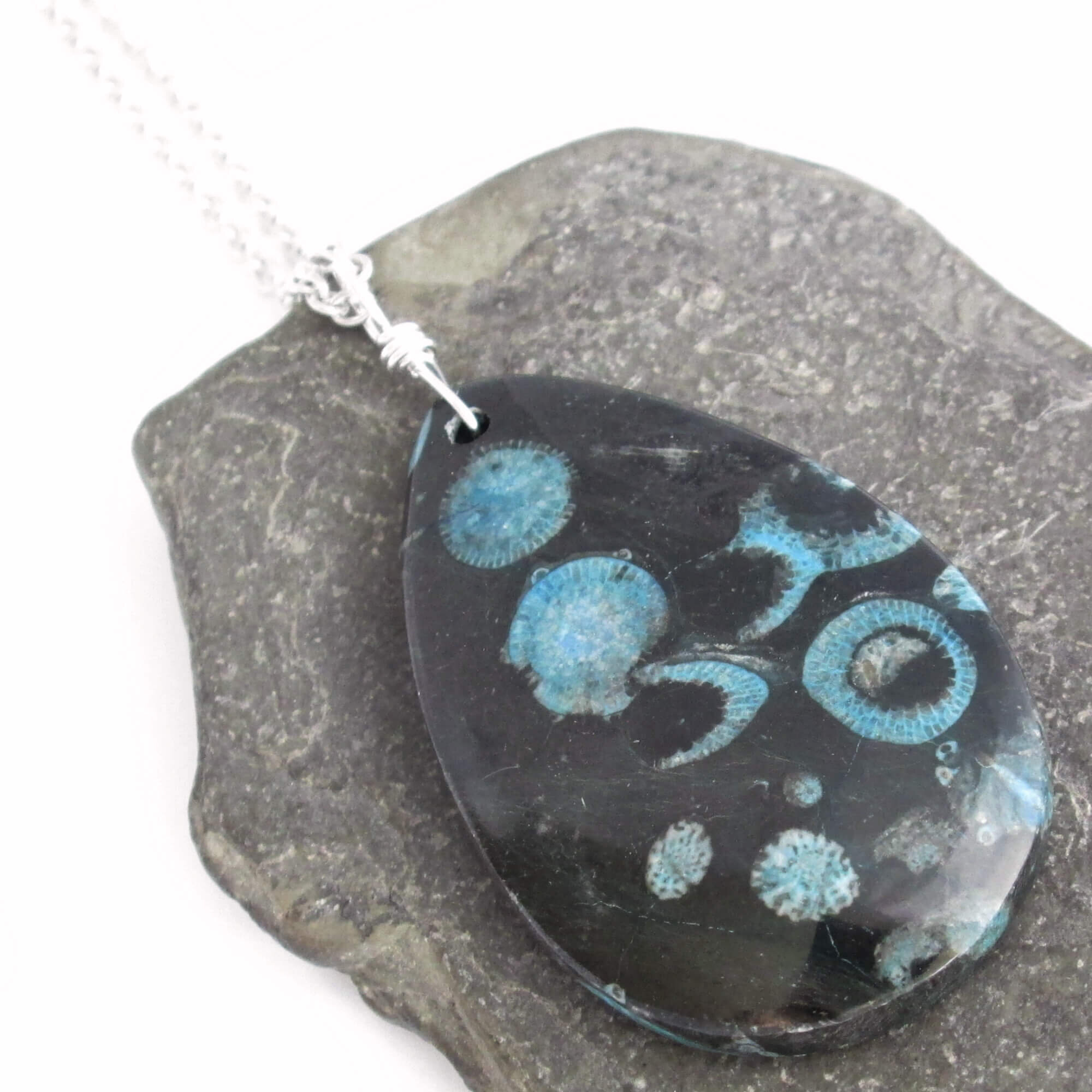 Black & Blue Fossil Coral Pendant