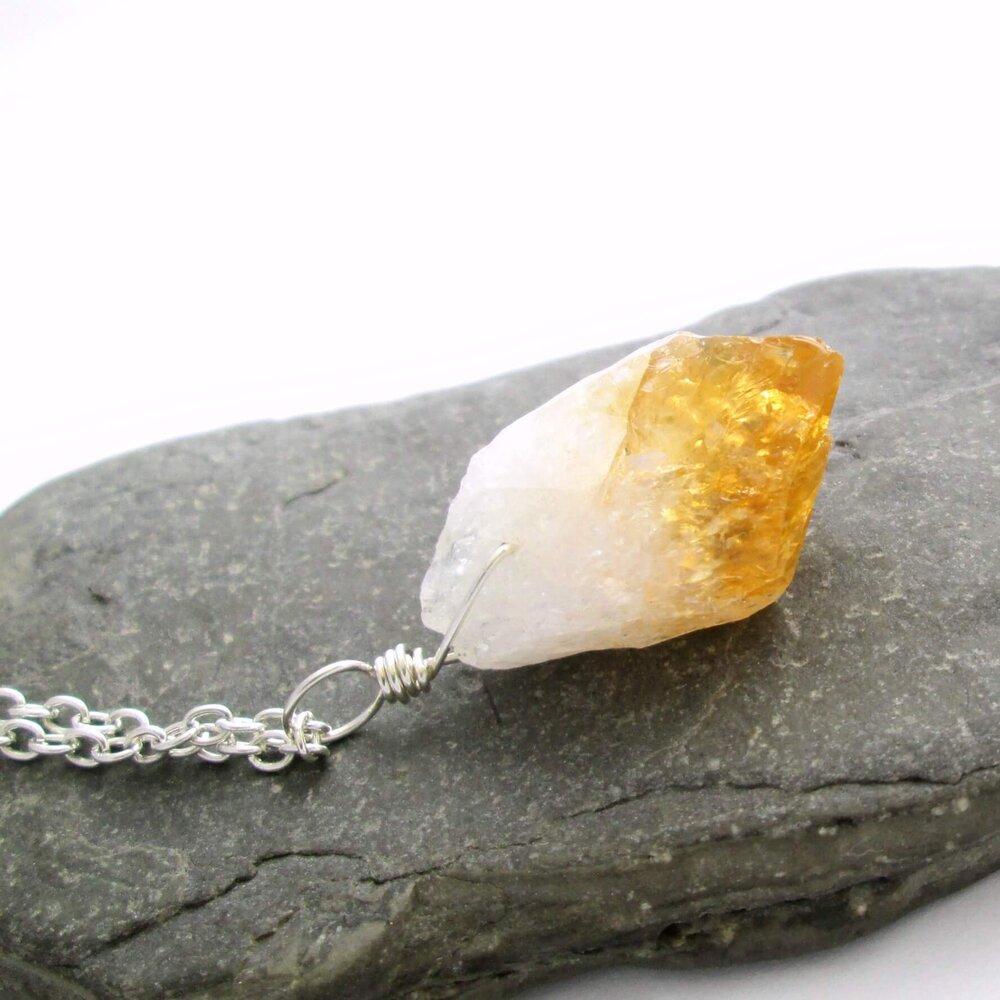 Natural Necklace Raw Citrine Crystal Quartz Pendant Citrine necklace Crystal Gemstone Necklace Natural Raw Citrine Natural Citrine Gemstone