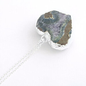 Lot G-2082 Amethyst Heart Druzy Cluster Heart Pendant with Electroplated Silver Edges-YOU CHOOSE-