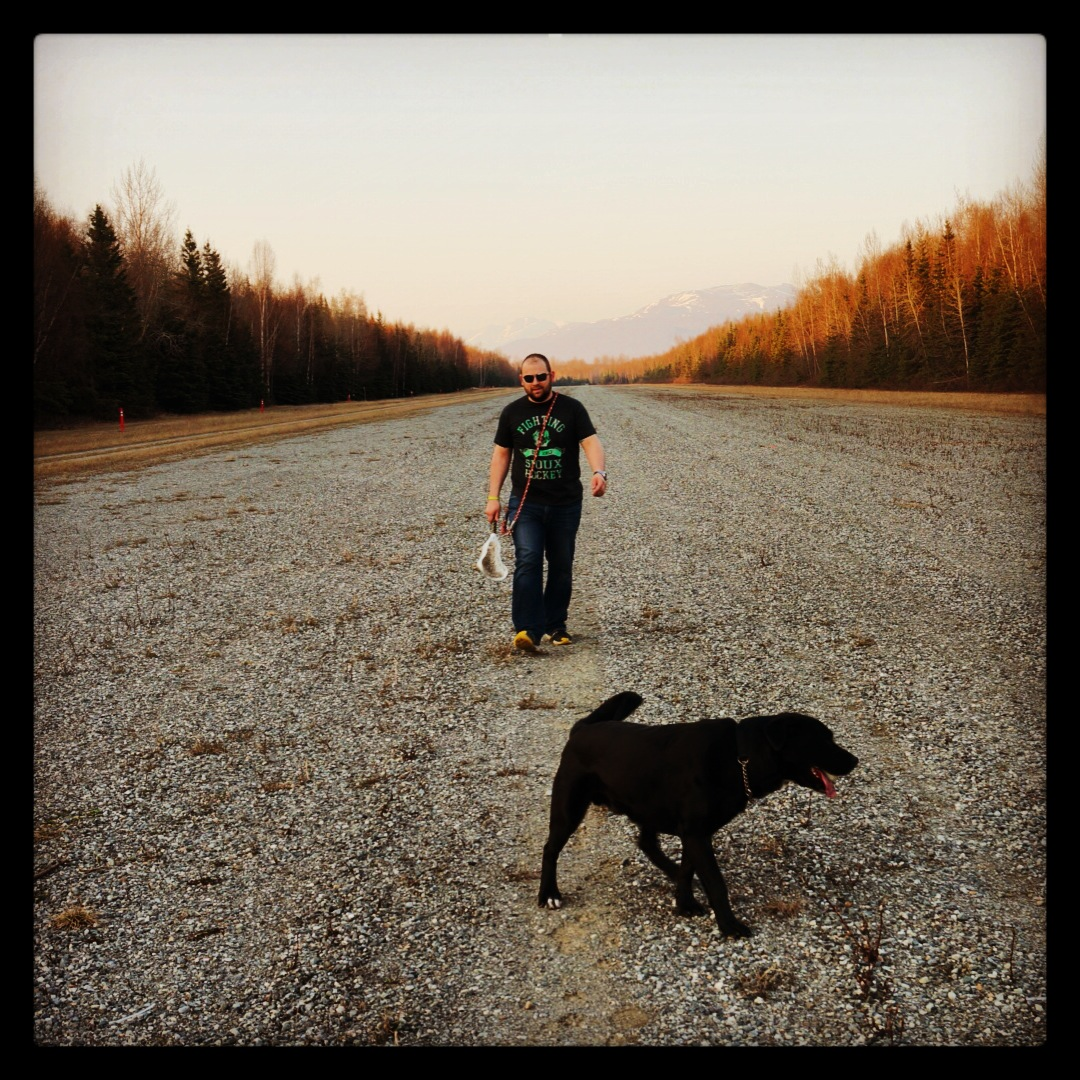 Tony often tires Ruger out by chucking Lacrosse balls. This was one of those epic nights with golden light, only Alaska in the spring can offer.