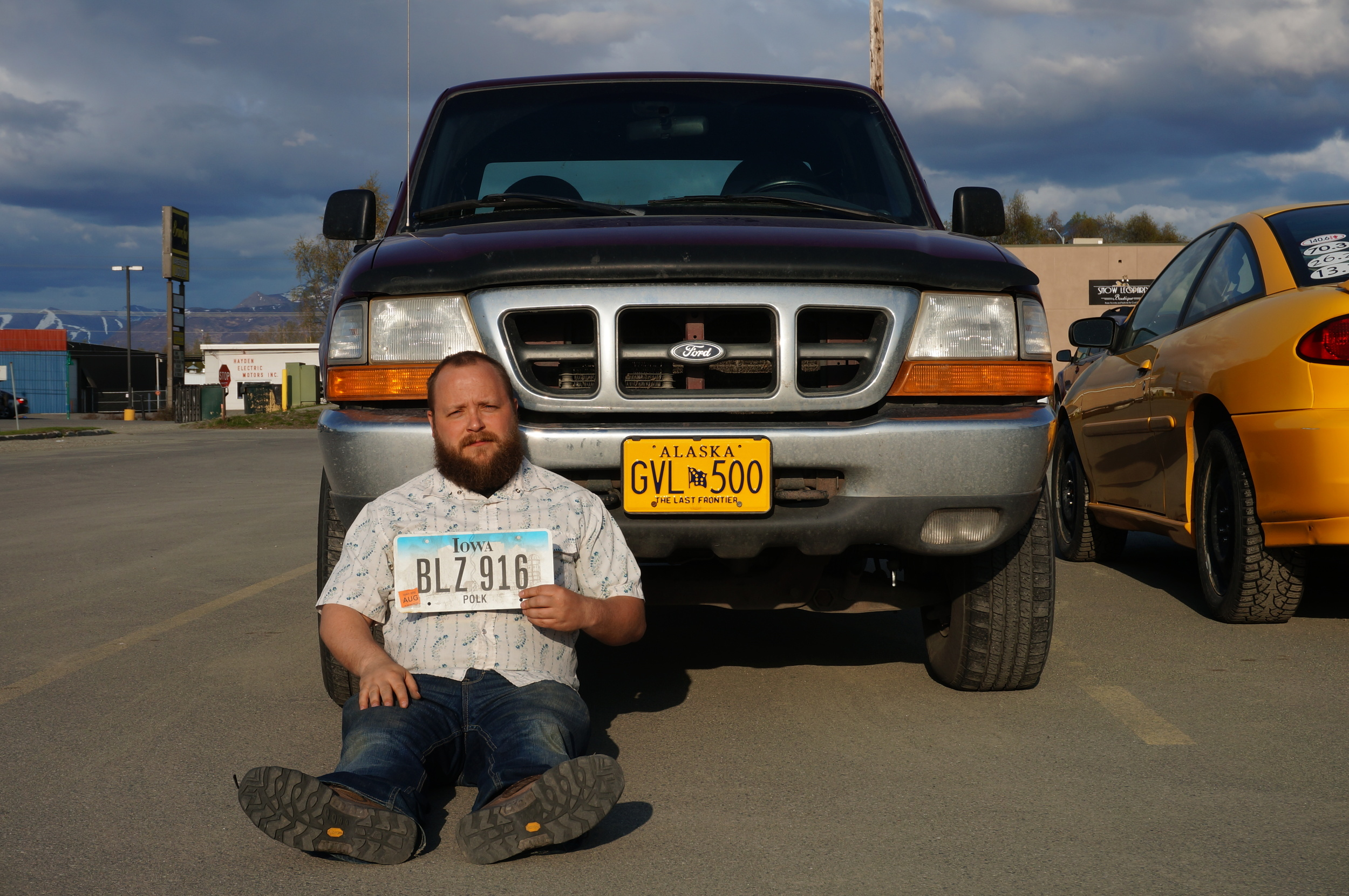 Kenny made it official: he changed from Iowa plates to an Alaska one. I love capturing small milestones like this.